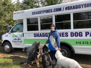 Braden with shuttle dogs